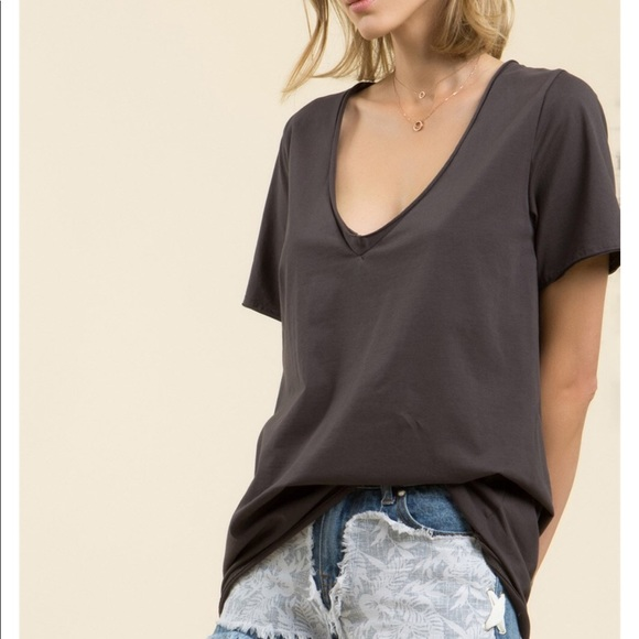 4f5dde9a5a8417 Desired Collection Tops | Last2 Deep V Neck Cotton T Coal Black ...